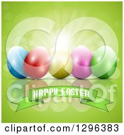 Clipart Of A 3d Colorful Eggs With Sunshine And Flares Over A Happy Easter Banner On Green Royalty Free Vector Illustration