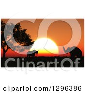 Clipart Of A 3d Background Of A Silhouetted Rhino And Elephants And An Orange African Sunset Royalty Free Illustration