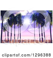 Clipart Of A 3d Purple Sunset Sky And Sunshine Through Palm Trees On A Tropical Beach Royalty Free Illustration