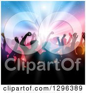 Clipart Of A Silhouetted Dancing And Cheering Crowd Over Colorful Shining Lights Royalty Free Vector Illustration by KJ Pargeter