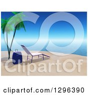 Clipart Of A 3d Suitcase And Chaise Lounge On A Tropical Beach Royalty Free Illustration