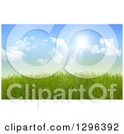 Clipart Of A Background Of Sun Shining Down On 3d Green Spring Grass Royalty Free Illustration by KJ Pargeter