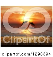 Clipart Of A 3d Wooden Deck Or Table With A View Of Jumping Dolphins At Sunset Royalty Free Illustration by KJ Pargeter