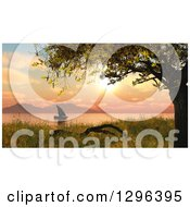 Clipart Of A 3d Sailboat At Sunset On A Lake Or River Royalty Free Illustration