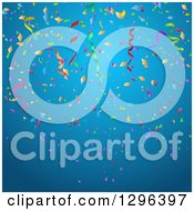 Clipart Of A Blue Party Background With Colorful Confetti And Ribbons Royalty Free Vector Illustration by KJ Pargeter