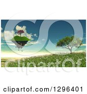 Clipart Of A 3d Island Floatig Over A Tree Landscape Royalty Free Illustration