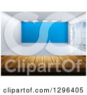 Clipart Of A 3d Wood Table Or Counter With An Empty Room And A Blue Feature Wall Royalty Free Illustration