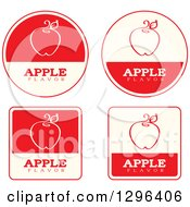Clipart Of A Set Of Red And Beige Apple Fruit Flavor Labels Royalty Free Vector Illustration