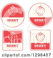 Clipart Of A Set Of Pink And Beige Strawberry Fruit Flavor Labels Royalty Free Vector Illustration