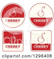 Clipart Of A Set Of Red And Beige Cherry Fruit Flavor Labels Royalty Free Vector Illustration