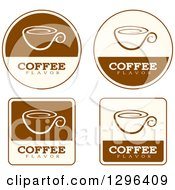 Clipart Of A Set Of Brown And Beige Coffee Flavor Labels Royalty Free Vector Illustration