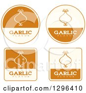 Clipart Of A Set Of Brown And Beige Garlic Flavor Labels Royalty Free Vector Illustration