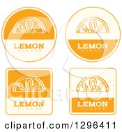 Clipart Of A Set Of Yellow And Beige Lemon Fruit Flavor Labels Royalty Free Vector Illustration