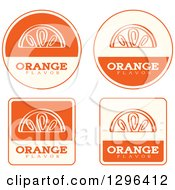 Clipart Of A Set Of Orange Fruit Flavor Labels Royalty Free Vector Illustration