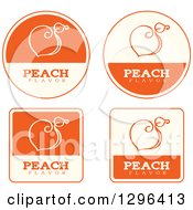 Clipart Of A Set Of Orange And Beige Peach Fruit Flavor Labels Royalty Free Vector Illustration