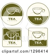 Poster, Art Print Of Set Of Green And Beige Tea Labels