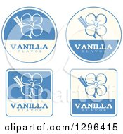 Clipart Of A Set Of Blue And Beige Vanilla Flavor Labels Royalty Free Vector Illustration