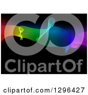 Clipart Of A Background Of A Rainbow Mesh Wave On Black Royalty Free Vector Illustration