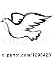 Clipart Of A Black And White Flying Dove 3 Royalty Free Vector Illustration