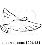 Clipart Of A Black And White Flying Dove 6 Royalty Free Vector Illustration