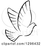 Clipart Of A Black And White Flying Dove 7 Royalty Free Vector Illustration