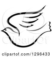 Clipart Of A Black And White Flying Dove 8 Royalty Free Vector Illustration by Vector Tradition SM