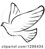 Clipart Of A Black And White Flying Dove 9 Royalty Free Vector Illustration