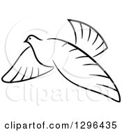 Clipart Of A Black And White Flying Dove 2 Royalty Free Vector Illustration