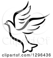 Clipart Of A Black And White Flying Dove 11 Royalty Free Vector Illustration