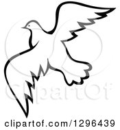 Clipart Of A Black And White Flying Dove 10 Royalty Free Vector Illustration