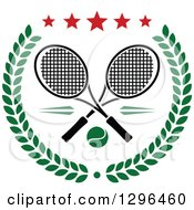 Clipart Of A Green Wreath With Crossed Rackets A Tennis Ball And Stars Royalty Free Vector Illustration