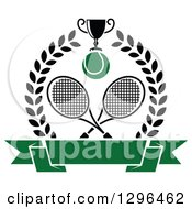 Clipart Of A Wreath With Crossed Rackets A Trophy Tennis Ball And Blank Banner Royalty Free Vector Illustration