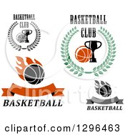Clipart Of Basketball And Trophy Sports Designs With Text Royalty Free Vector Illustration