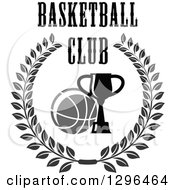 Clipart Of A Grayscale Basketball And Trophy In A Wreath With Text Royalty Free Vector Illustration