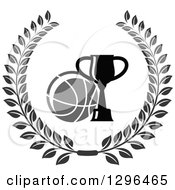 Clipart Of A Grayscale Basketball And Trophy In A Wreath Royalty Free Vector Illustration