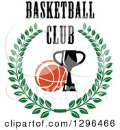 Clipart Of A Basketball And Trophy In A Green Wreath With Text Royalty Free Vector Illustration