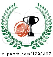 Clipart Of A Basketball And Trophy In A Green Wreath Royalty Free Vector Illustration
