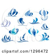 Clipart Of Blue Regatta Sailboats And Waves Royalty Free Vector Illustration
