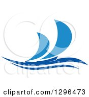 Clipart Of A Blue Regatta Sailboats Royalty Free Vector Illustration
