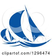 Clipart Of A Blue Regatta Sailboats 2 Royalty Free Vector Illustration