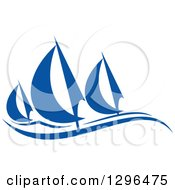Clipart Of A Blue Regatta Sailboats 3 Royalty Free Vector Illustration