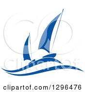 Clipart Of A Blue Regatta Sailboats 4 Royalty Free Vector Illustration