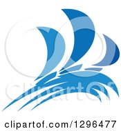 Clipart Of A Blue Regatta Sailboats 5 Royalty Free Vector Illustration