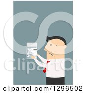Flat Modern White Businessman Holding A Pill Bottle Over Blue
