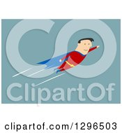 Clipart Of A Flat Modern White Businessman Super Hero Flying Over Blue Royalty Free Vector Illustration by Vector Tradition SM