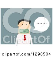 Clipart Of A Flat Modern White Businessman  Over Blue Royalty Free Vector Illustration by Vector Tradition SM