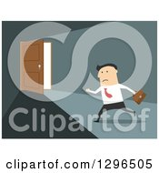 Clipart Of A Flat Modern White Businessman Running To An Open Door Over Blue Royalty Free Vector Illustration