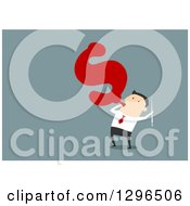 Clipart Of A Flat Modern White Businessman Blowing Up A Dollar Balloon Over Blue Royalty Free Vector Illustration