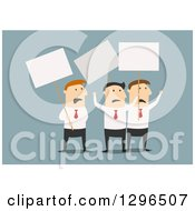 Clipart Of Flat Modern White Businessmen On Strike Over Blue Royalty Free Vector Illustration