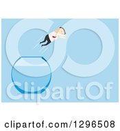 Clipart Of A Flat Modern White Businessman Leaping Free Of A Fish Bowl Over Blue Royalty Free Vector Illustration
